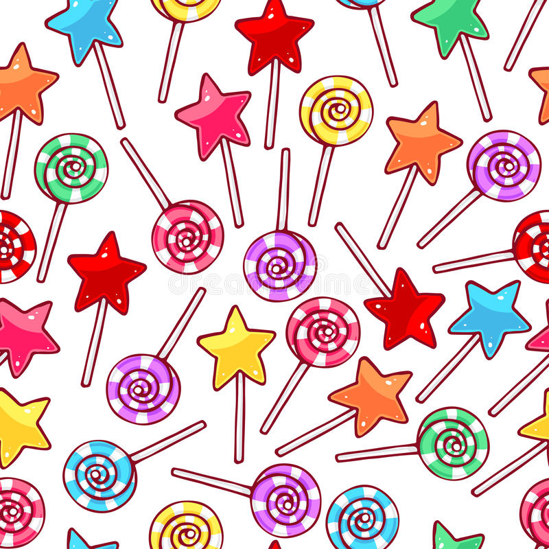 Cute seamless lollipops stock illustration