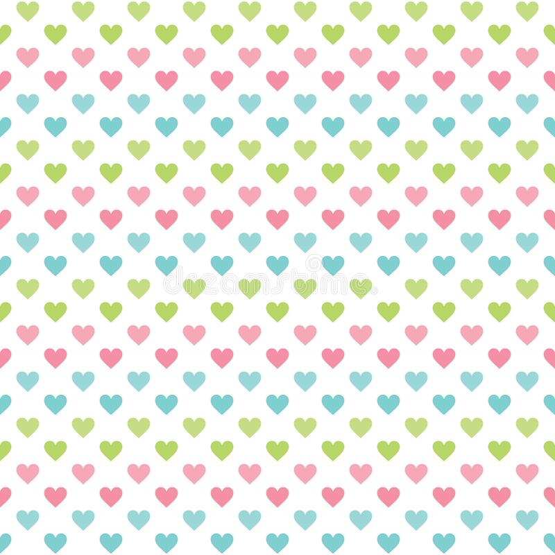 Cute seamless love background with pastel hearts vector illustration