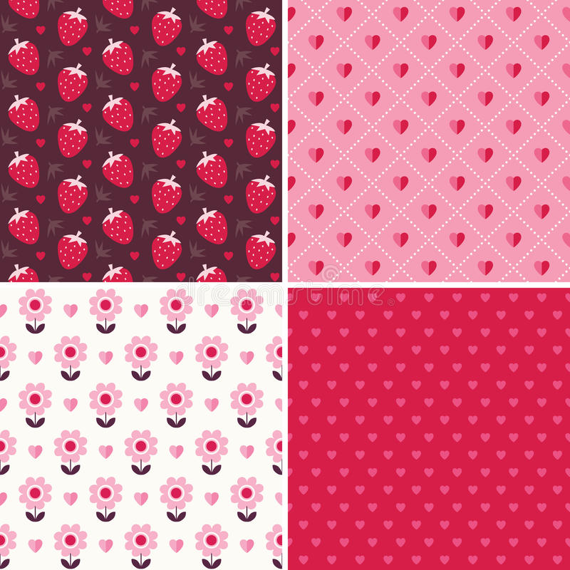 Cute seamless love patterns in pink and red stock illustration