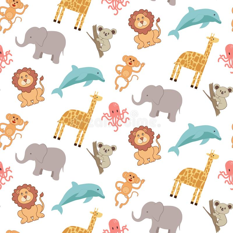 Cute seamless pattern with animals: elephant, giraffe, lion, monkey, koala, dolphin and octopus royalty free illustration