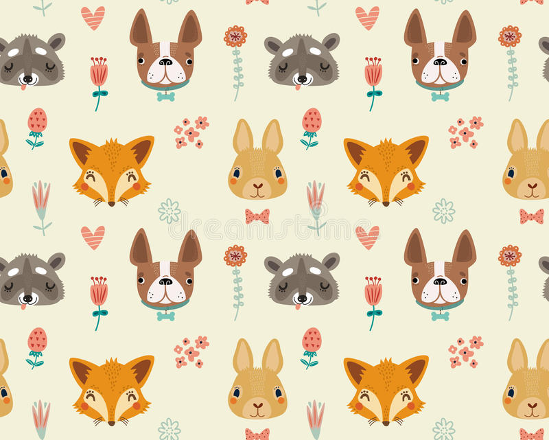 Cute seamless pattern with animals and flowers. Cute seamless pattern with animals