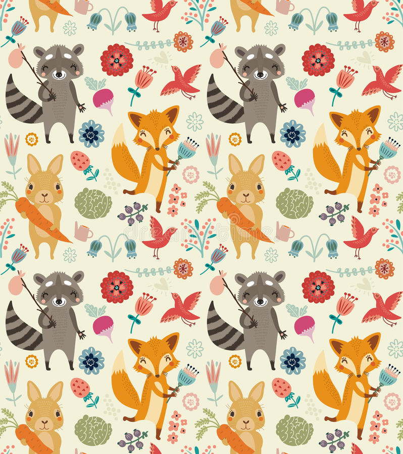 Cute seamless pattern with animals and flowers vector illustration