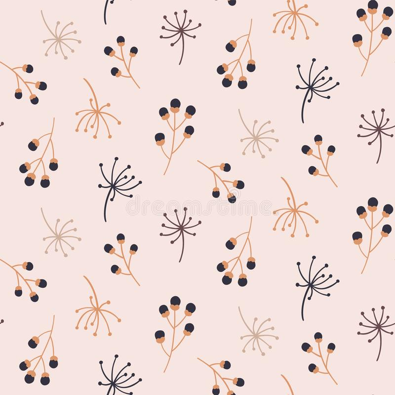 Cute seamless pattern with autumn floral elements. Hand drawn print. vector illustration