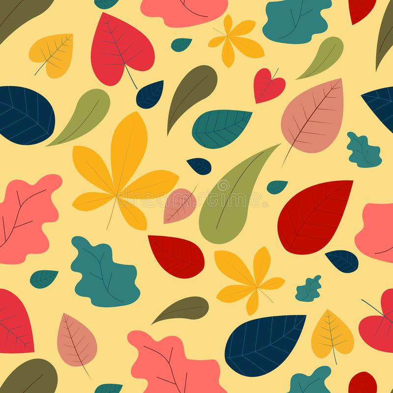 A cute seamless pattern with autumn leaves. A flat cartoon style elements stock illustration