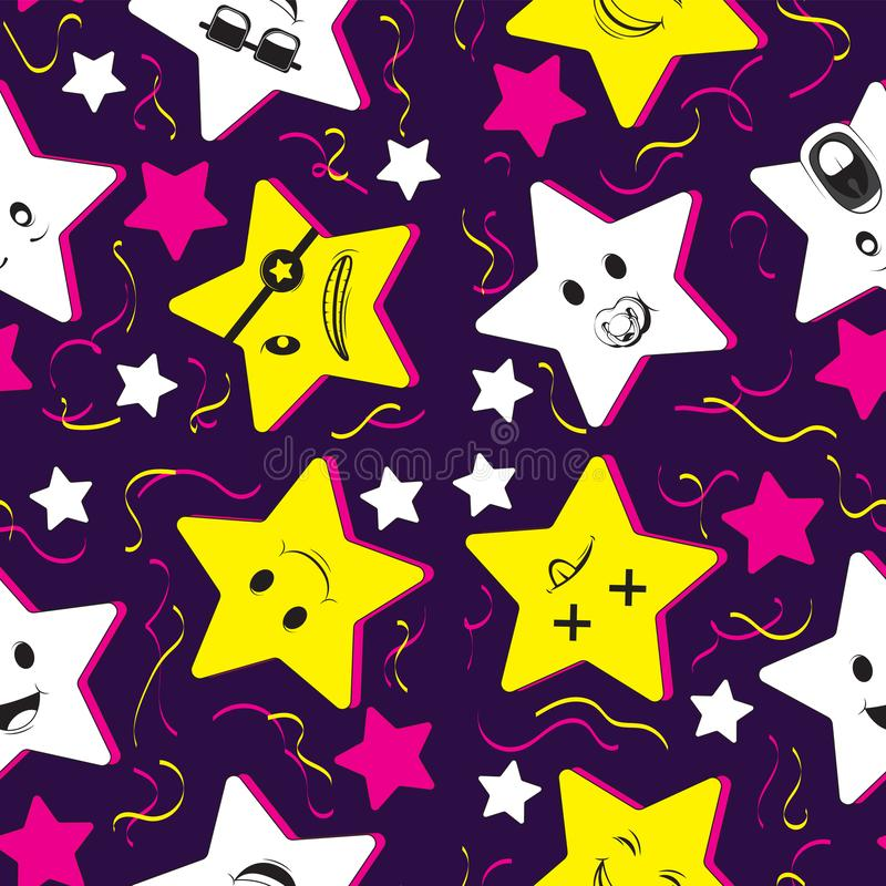 Cute seamless pattern background with cartoon kawaii stars and confetti. For kids clothes, pajamas, baby shower design. Vector vector illustration