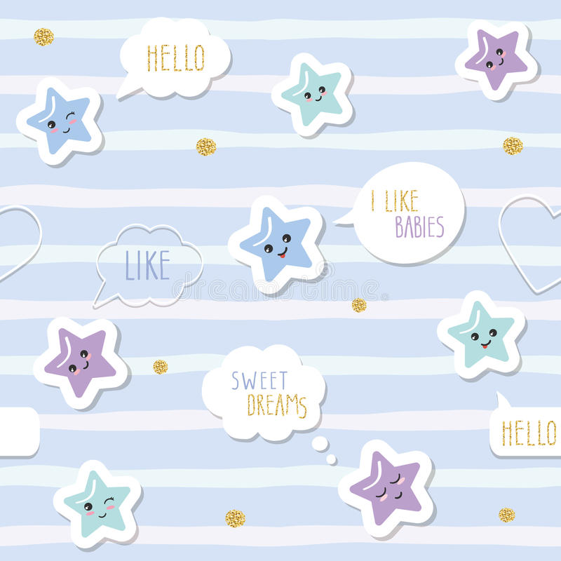 Cute seamless pattern background with cartoon kawaii stars and speech bubbles. For little boys babies clothes, pajamas. Baby shower design. Pastel blue and stock illustration