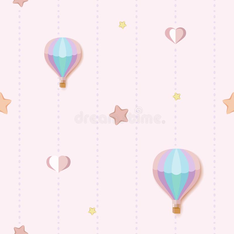 Cute seamless pattern background with colorful stars, hearts and hot air balloons. Seamless pink pattern with dotted stripes. stock illustration