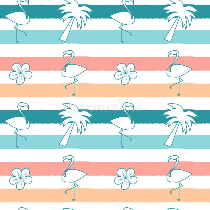 Cute seamless pattern background illustration with flamingos, hibiscus flowers and palm tree on colorful stripes. Cute seamless vector pattern background stock illustration