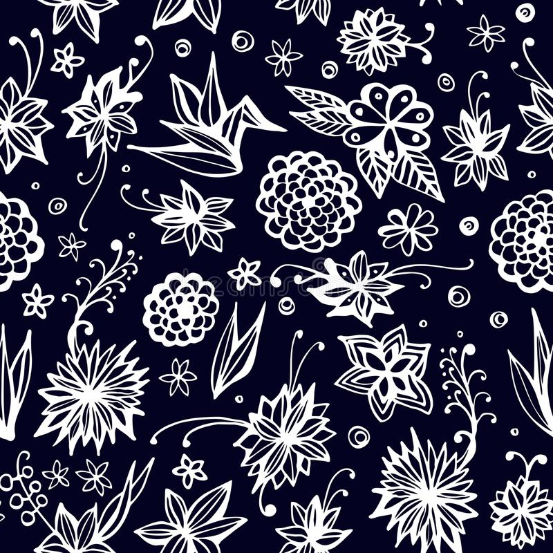 Cute seamless pattern with beautiful flowers and leaves. Vector royalty free illustration