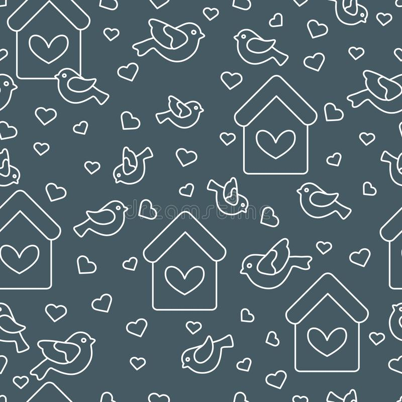 Cute seamless pattern with birds, birdhouses and hearts.Template for design, fabric, print. Greeting card Valentine`s Day royalty free illustration
