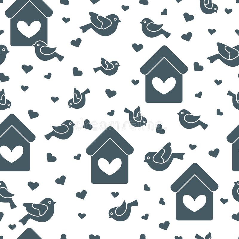 Cute seamless pattern with birds, birdhouses and hearts.Template for design, fabric, print. Greeting card Valentine`s Day vector illustration