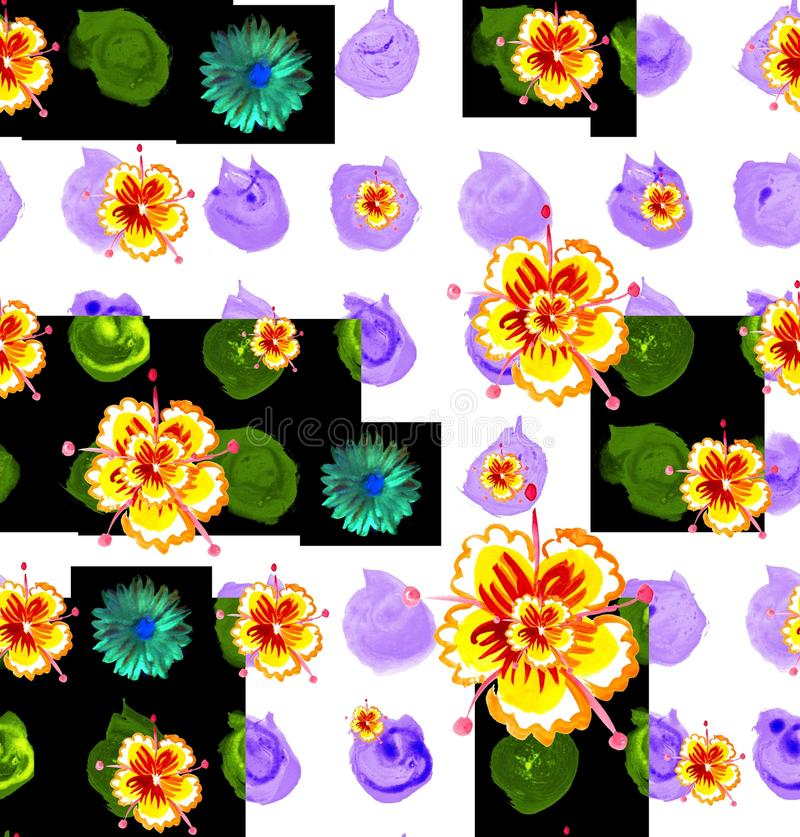 Cute seamless pattern with bright watercolor hand drawn nasturtium and aster. vector illustration