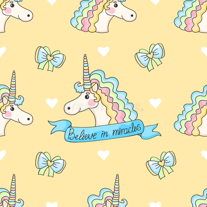 Cute seamless pattern with candy, stars, donuts and unicorn. vector illustration
