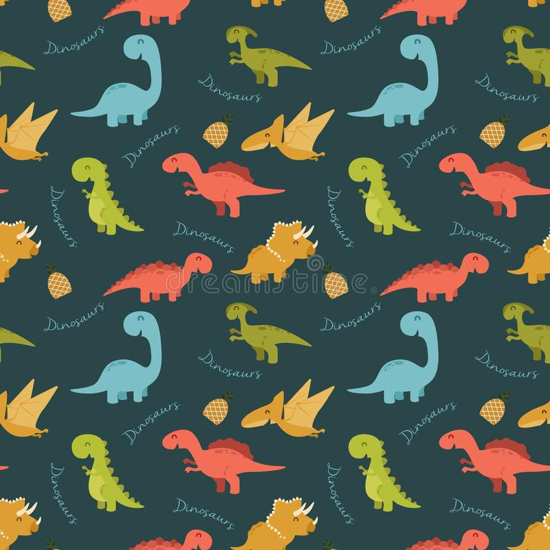 Cute seamless pattern with cartoon colorful dinosaurs. Illustration of Cute seamless pattern with cartoon colorful dinosaurs royalty free illustration