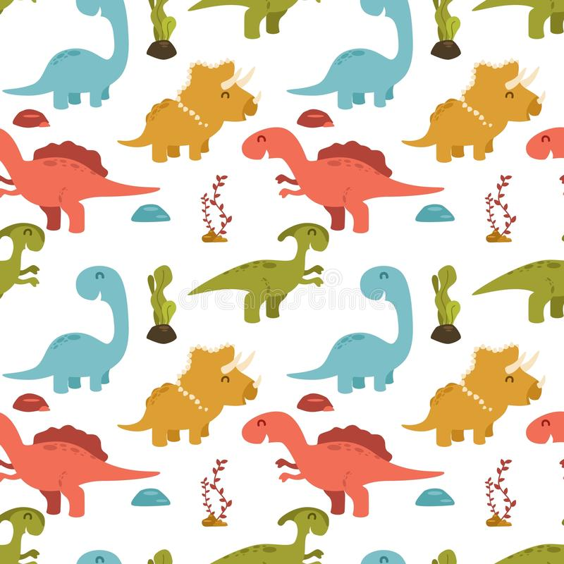 Cute seamless pattern with cartoon colorful dinosaurs. Illustration of Cute seamless pattern with cartoon colorful dinosaurs stock illustration