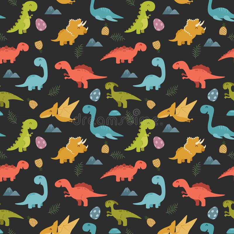 Cute seamless pattern with cartoon colorful dinosaurs. Illustration of Cute seamless pattern with cartoon colorful dinosaurs vector illustration