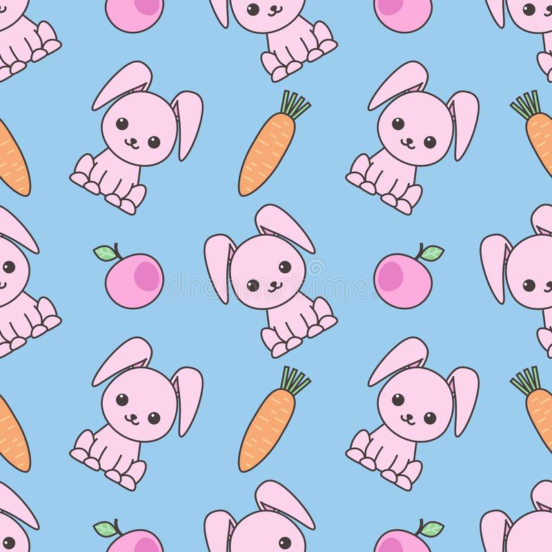 Cute seamless pattern with cartoon funny rabbits. Childish background. Vector kawaii illustration. Cute seamless pattern with cartoon funny rabbits. Childish vector illustration