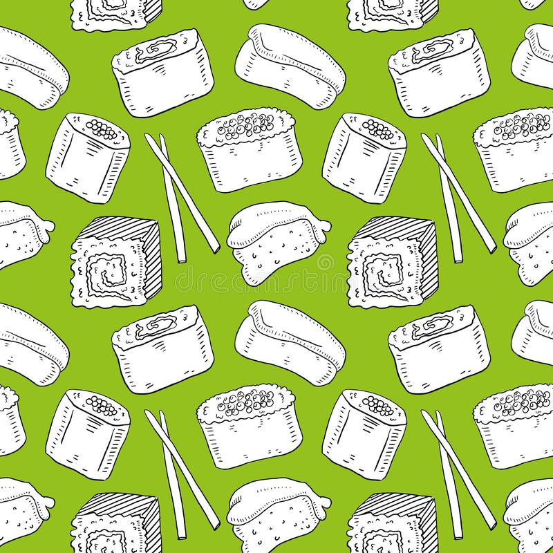 Cute seamless pattern with cartoon rolls and sushi in kawaii style. Tasty japanese food in outline vector illustration
