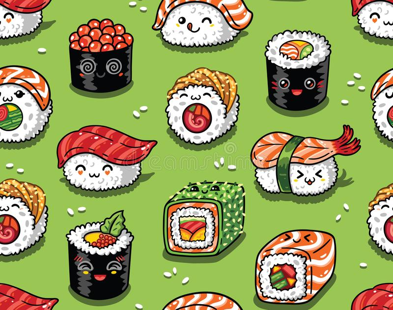 Sushi and sashimi seamless pattern in kawaii style. Vector illustration. Cute seamless pattern with cartoon rolls and sushi in kawaii style. Tasty japanese food royalty free illustration