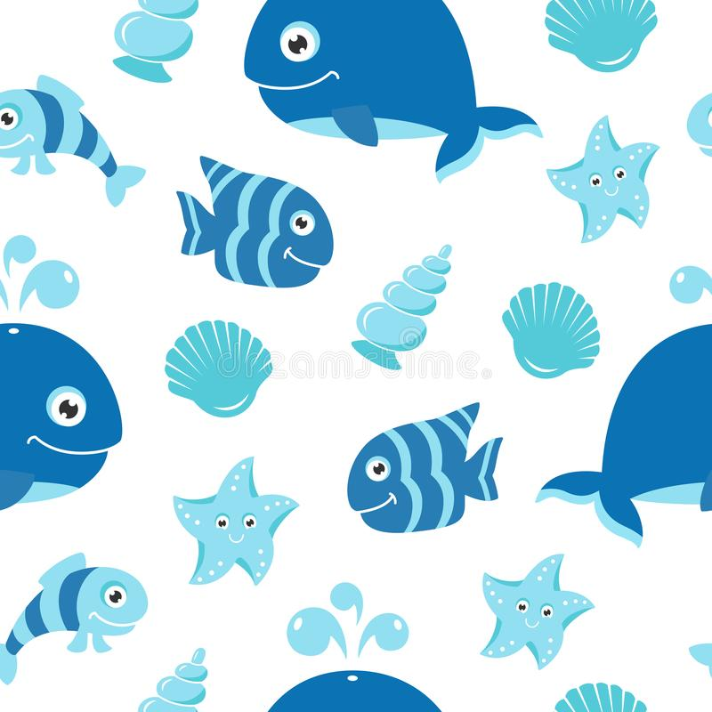 Cute seamless pattern with cartoon sea animals. The pattern can be repeated without any visible seams royalty free illustration