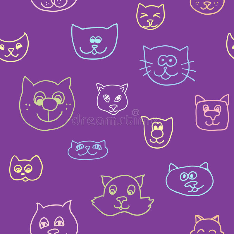 Cute seamless pattern with cat faces. Endless texture can be used for printing onto fabric, paper or scrap booking, wallpaper, pattern fills, web page stock illustration