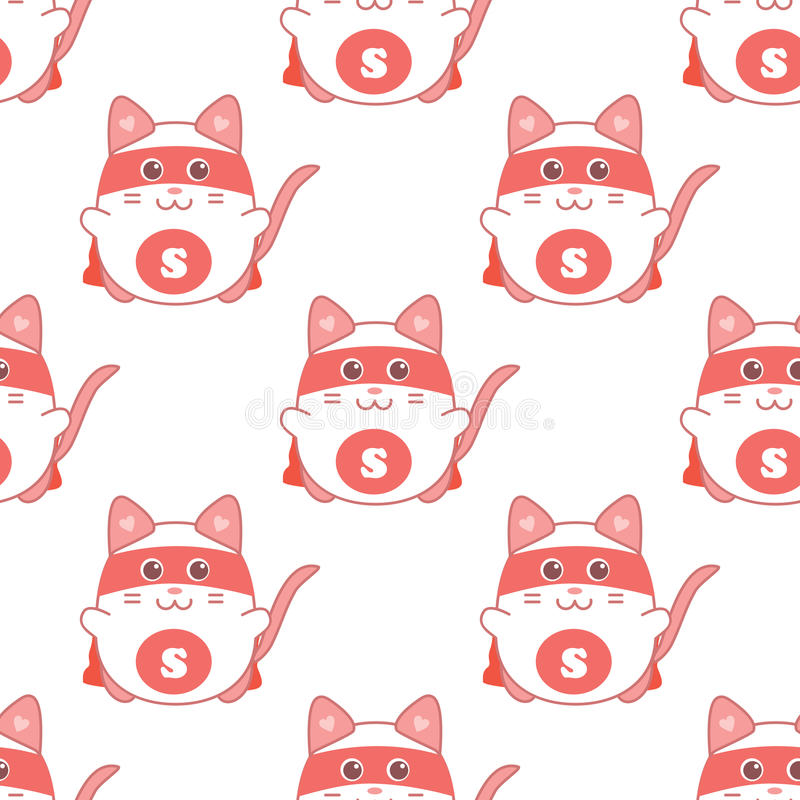 Cute seamless pattern with cat superman royalty free illustration