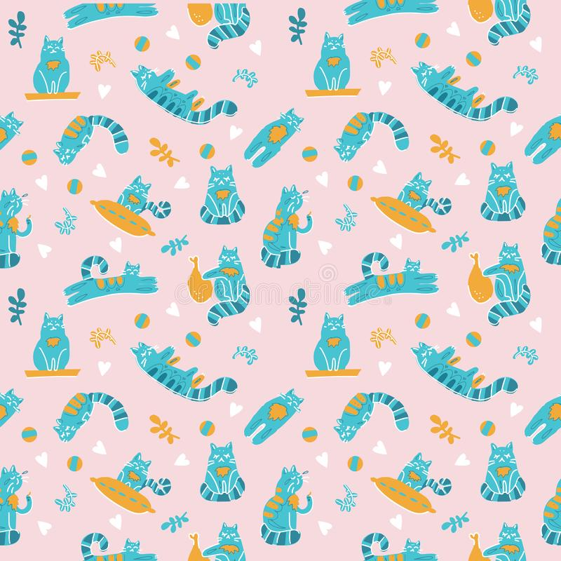 Cute Seamless Pattern with Cats in Doodle scandinavian Style. Hand Drawn Vector Illustration with pillow, plants, branches and vector illustration