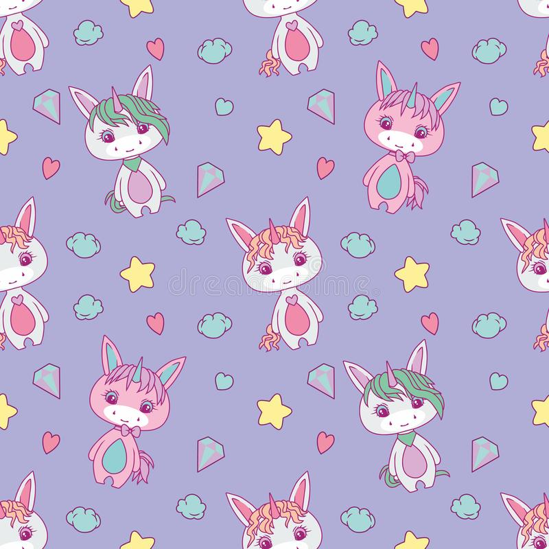 Cute seamless pattern for children with chubby white cartoon unicorns, stars, hearts, diamonds and clouds on light violet backgrou. Nd , drawing stock illustration