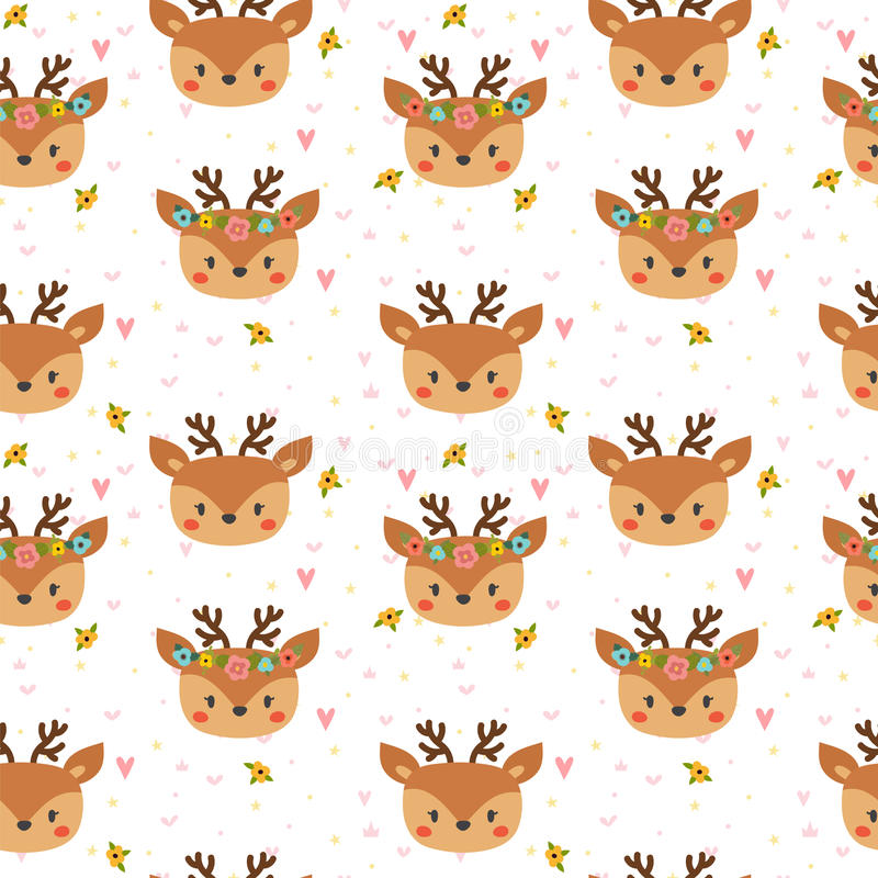 Cute seamless pattern for children with funny deers. Smile characters stock illustration
