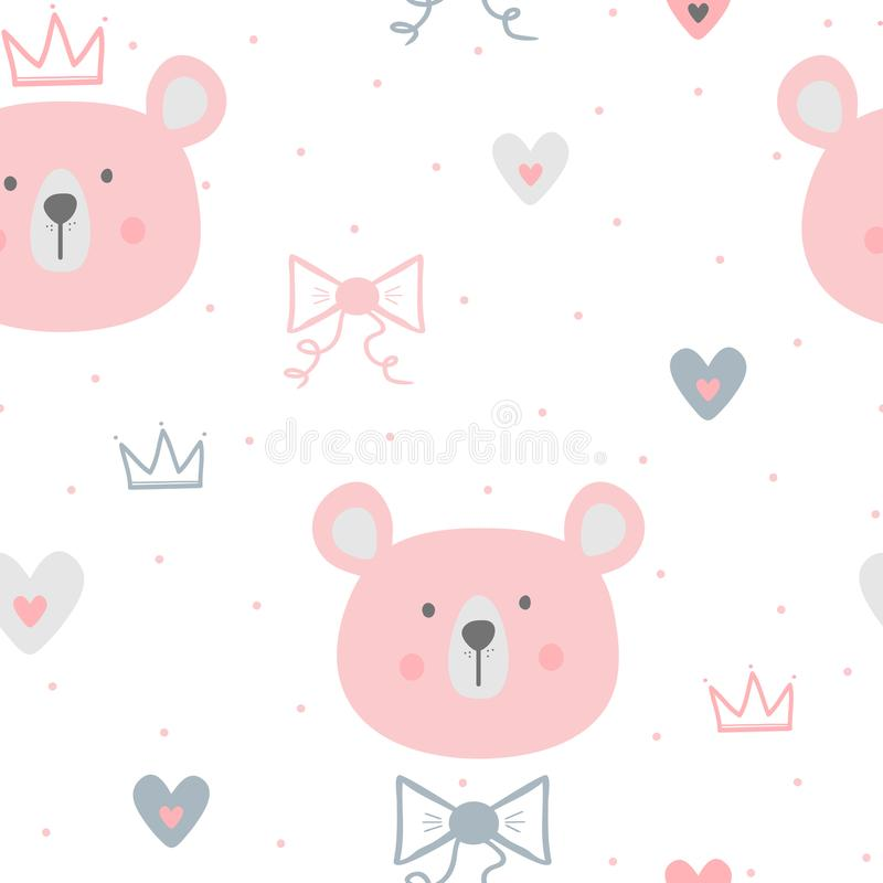 Cute seamless pattern for children. Repeated faces of bears, hearts, crowns, bows and polka dots. royalty free illustration