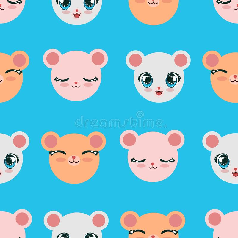 Cute seamless pattern for children. repeated heads of bears with cute expressions and muzzles in different color. Endless. Illustration for babies royalty free illustration