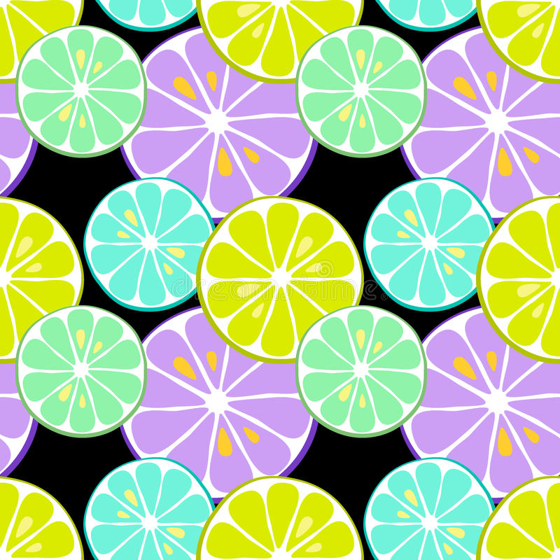Cute seamless pattern of citrus fruits lemon and lime with simple textures and neon colors. Cute seamless patterns of citrus fruits lemon and lime with simple royalty free illustration
