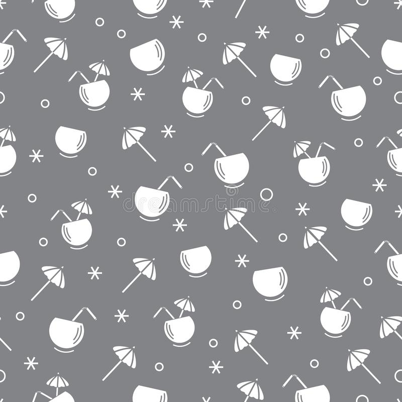 Cute seamless pattern with cocktail in half coconut, tube and umbrella. Travel and leisure. Design for banner, poster or print. Vector. Cute seamless pattern vector illustration