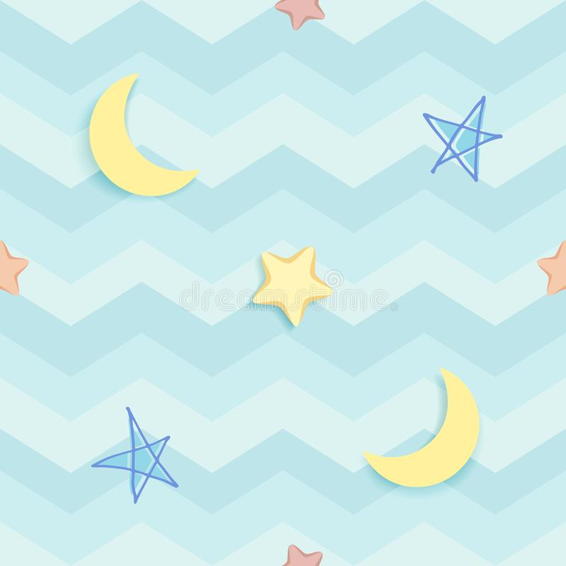 Cute seamless pattern with colorful hand-drawn stars and crescent moon. Blue pattern with wavy stripes and zigzag chevron. stock illustration