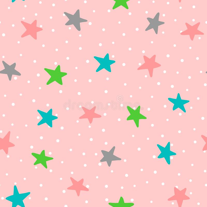 Cute seamless pattern with colorful stars and polka dots. Drawn by hand. Endless vector illustration for children. Pink, white, green, blue, dark gray stock illustration