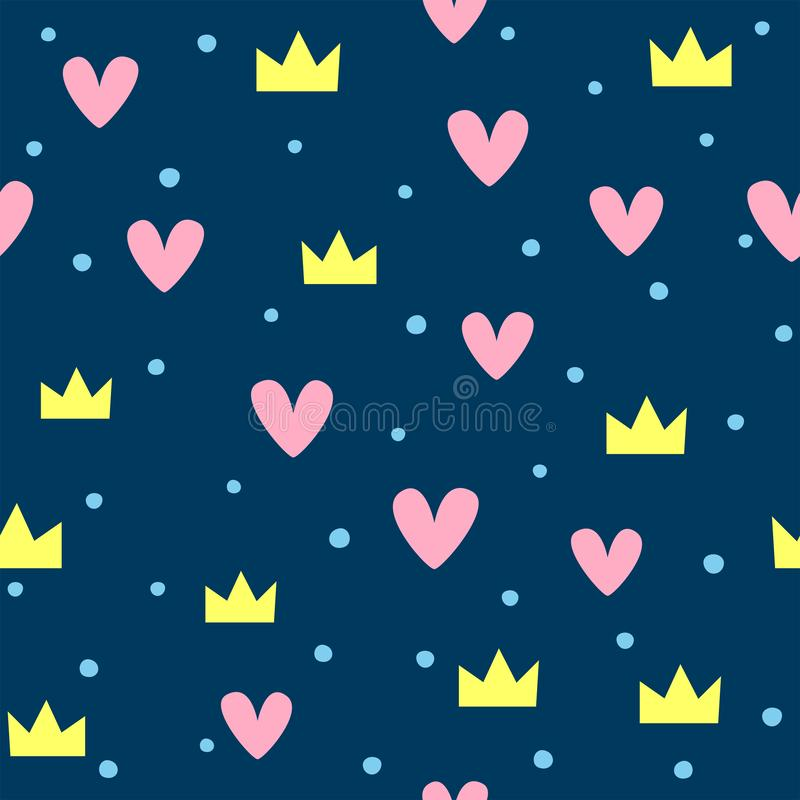 Cute seamless pattern with crowns, hearts and round spots. Nice vector illustration royalty free illustration