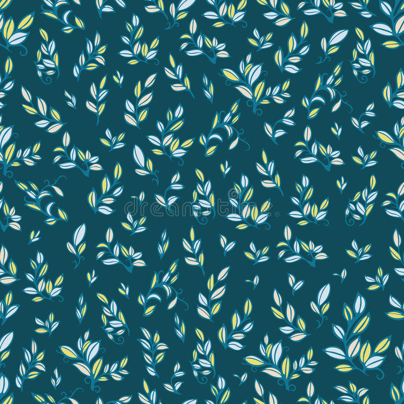 Cute seamless pattern with cyan leaves. royalty free stock photo