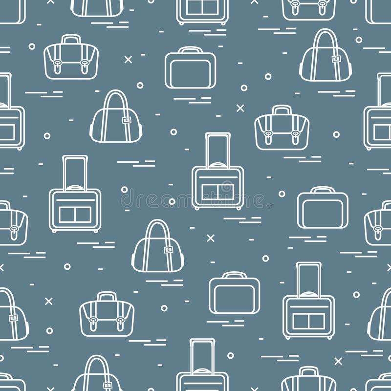 Cute seamless pattern with different bag and suitcases for travel. Summer time, vacation. Design for banner, poster or print. Vector. Cute seamless pattern with royalty free illustration