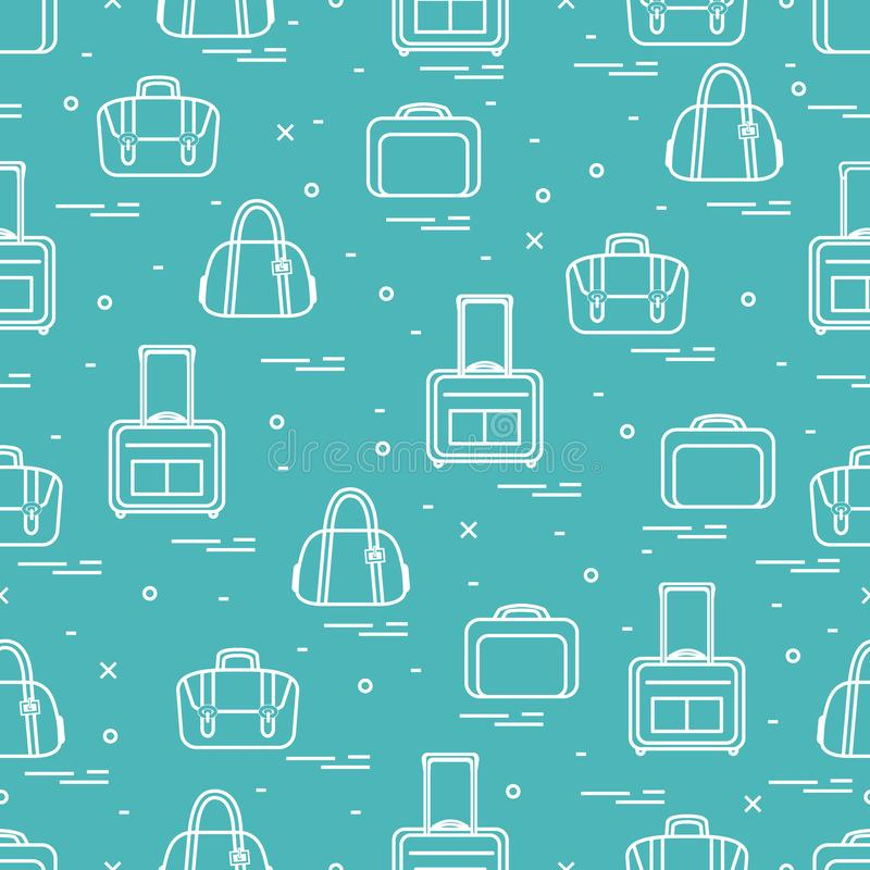 Cute seamless pattern with different bag and suitcases for travel. Summer time, vacation. Design for banner, poster or print. Vector. Cute seamless pattern with vector illustration