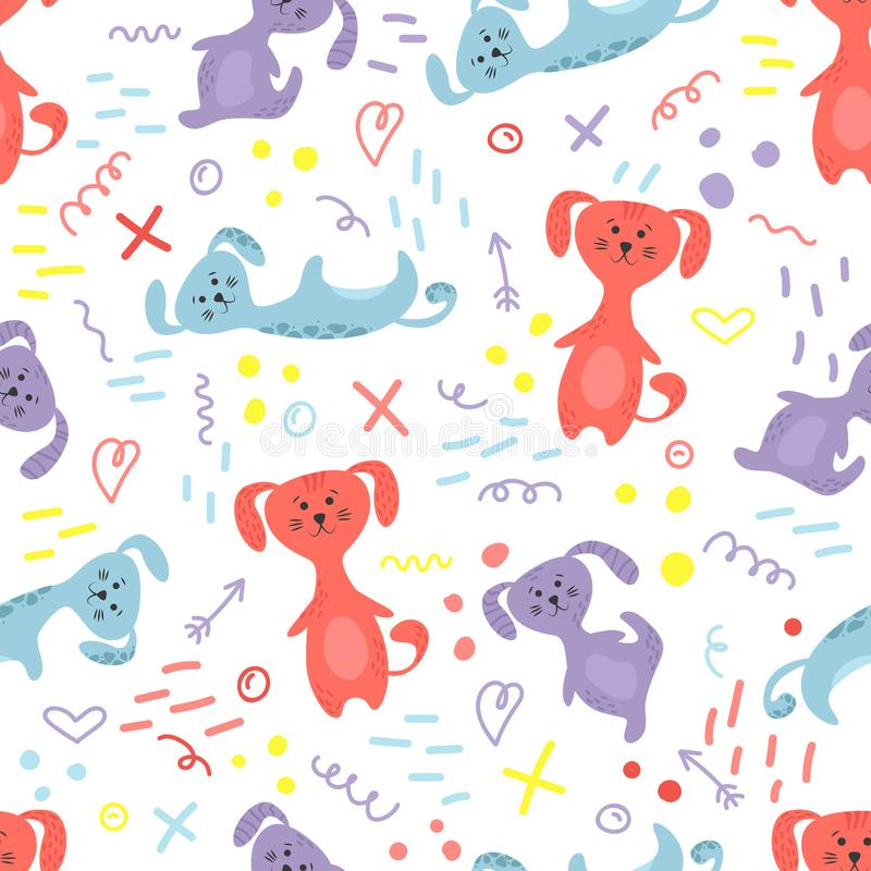 Cute seamless pattern with dogs and doodles. Flowers in a pots. Hygge home. Vector background design stock illustration