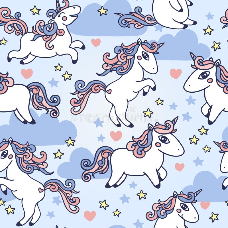 Cute seamless pattern with doodle unicorns royalty free illustration