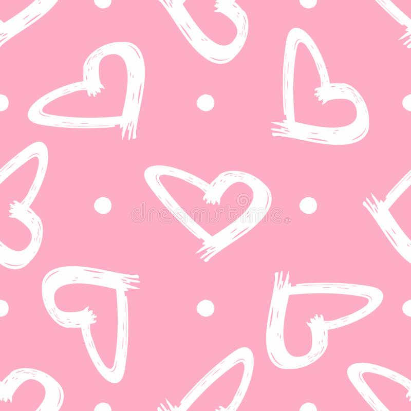 Cute seamless pattern with dots and hearts painted by brush. Sketch, grunge, graffiti. Vector illustration. vector illustration