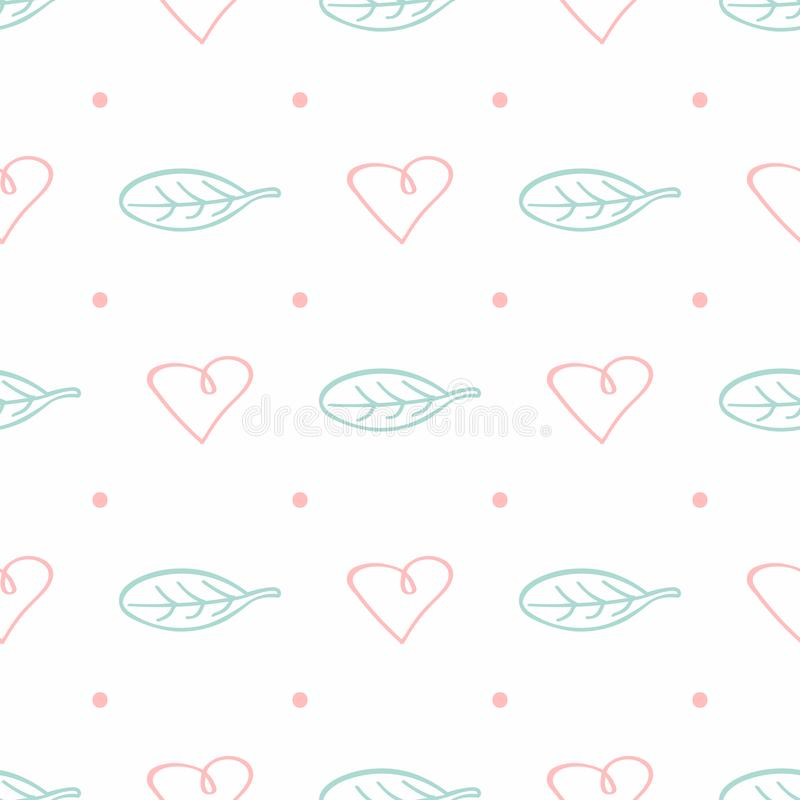 Cute seamless pattern with dots, leaves and hearts drawn by hand. Doodle, sketch. Simple romantic print. Vector illustration vector illustration