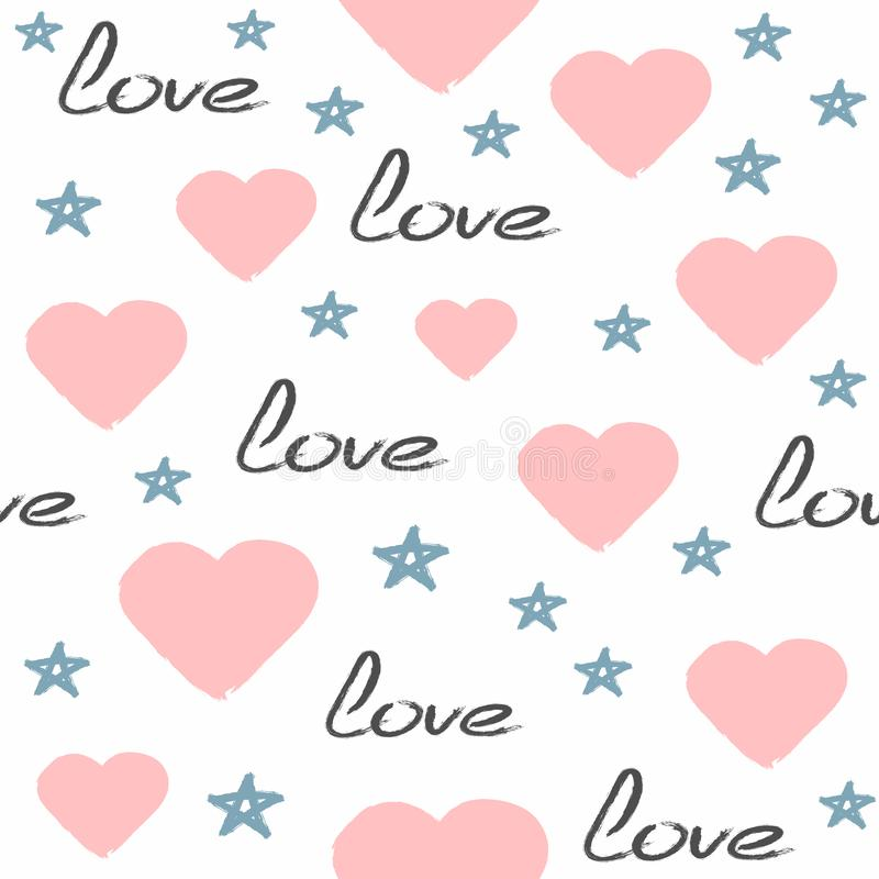 Cute seamless pattern drawn by hand with rough brush. Repeated hearts, stars, handwritten text Love. Sketch, watercolour, paint. Girlish vector illustration stock illustration