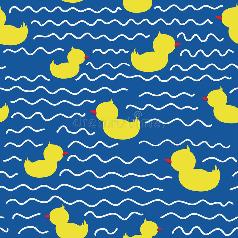 Cute seamless pattern with ducklings stock illustration