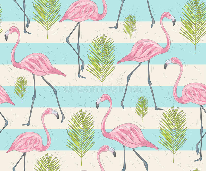 Cute seamless pattern with flamingos and palm. royalty free illustration
