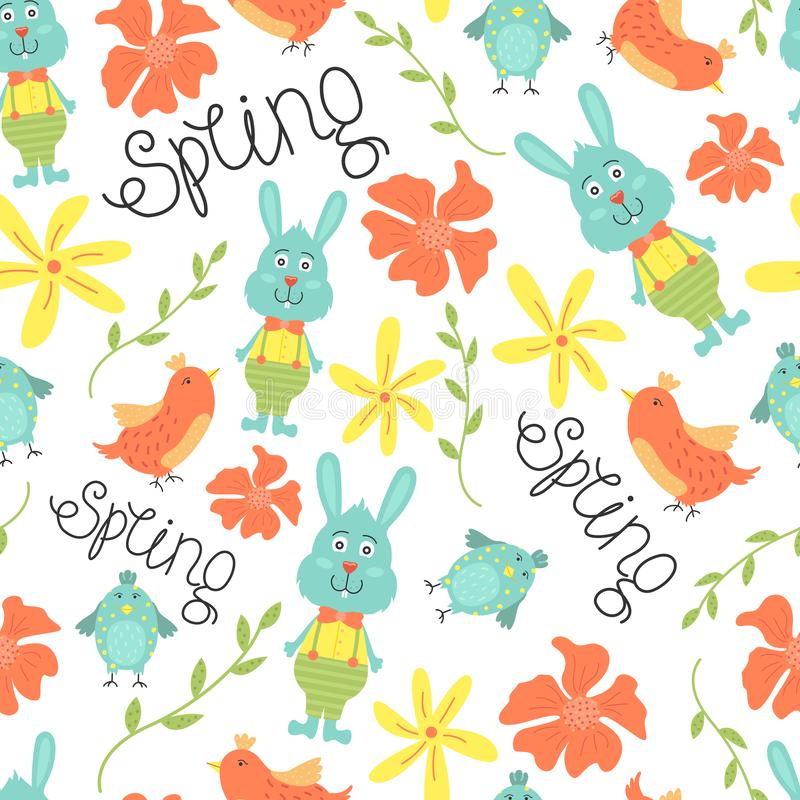 Cute seamless pattern with flowers, birds and bunnies. Vector spring background vector illustration