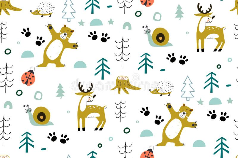 Cute seamless pattern with forest animals, with bear, deer, insects in the wood. forest elements and hand drawn shapes stock illustration