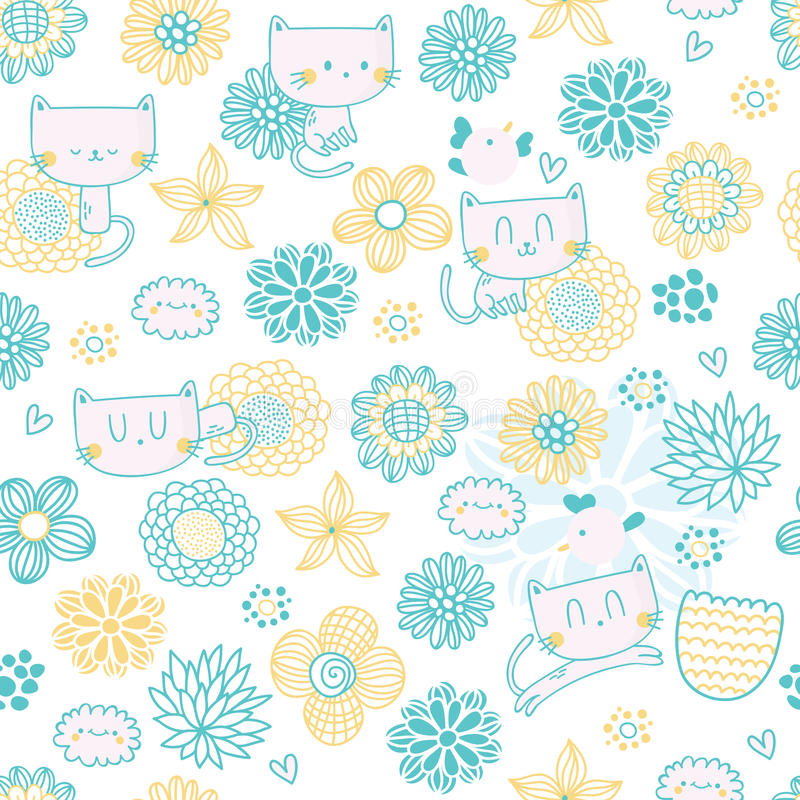 Cute seamless pattern with funny cartoon cats royalty free stock photography