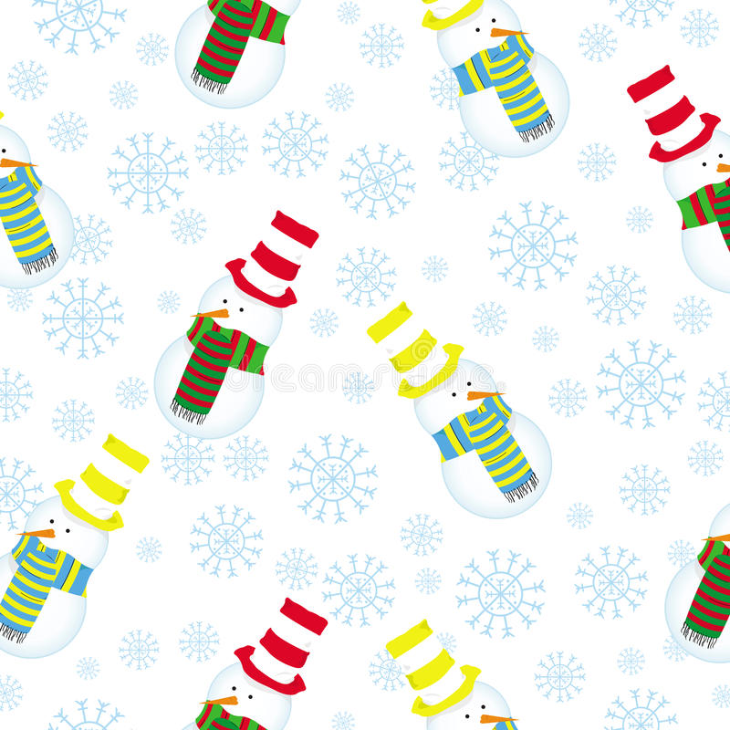 Cute seamless pattern with funny snowman vector stock image